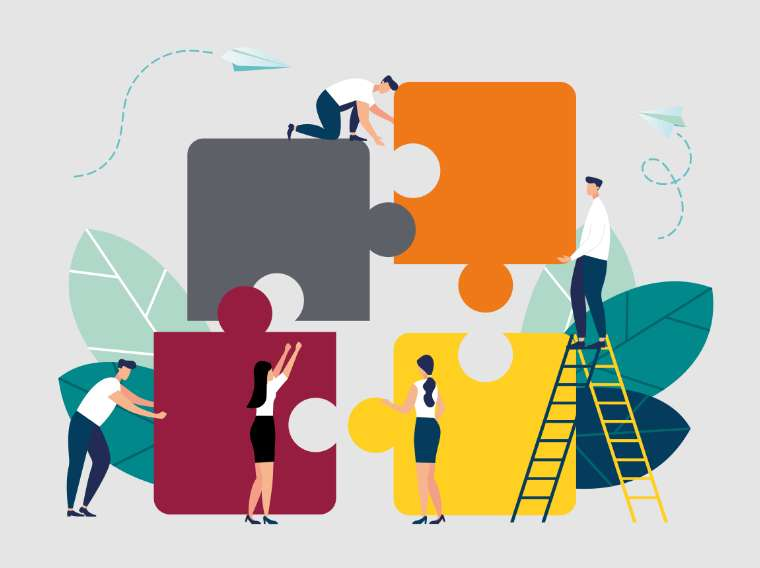 graphic of employees putting together large puzzle pieces